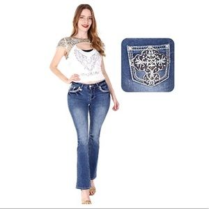 Women Sexy Couture Bootcut Blue Jeans S720